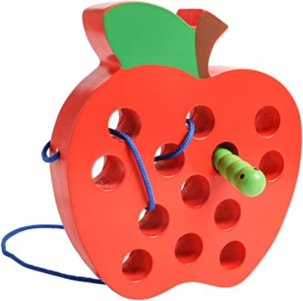 wooden toy Toddler toy Wooden lacing toy Multicolored apples Motor skills toy Educational toy Toddler birthday gift Learning Toy
