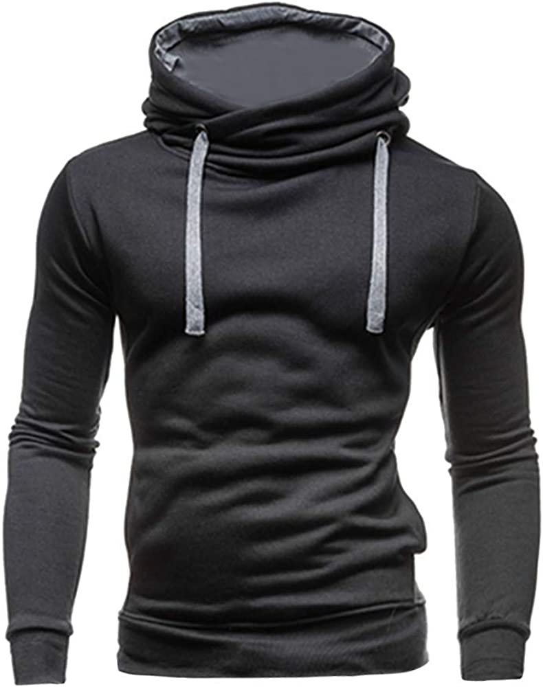 Ulanda Men's Turtleneck Pullover Hoodies Long Sleeve Slim
