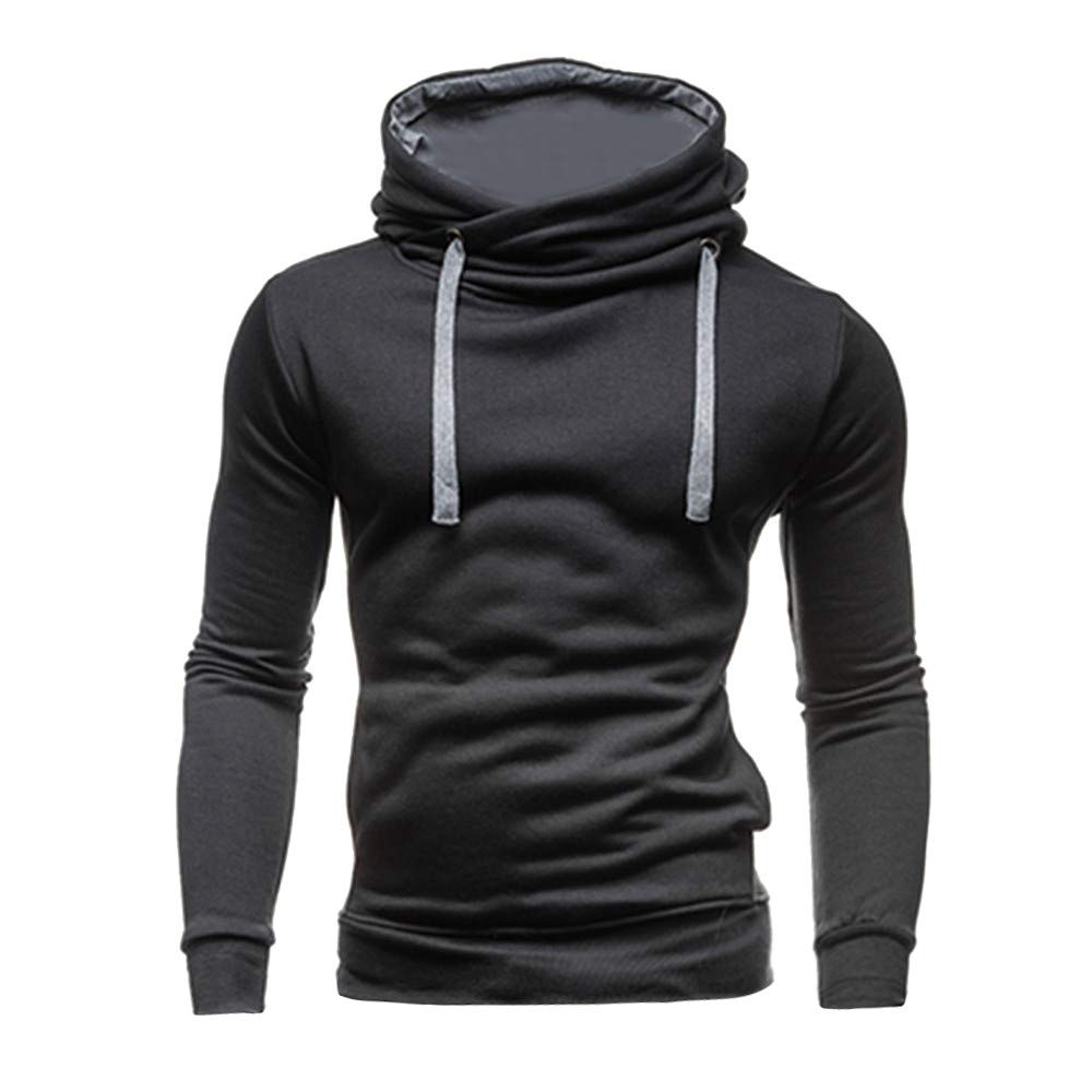 Cool Hoodie,Men Casual Autumn Winter Solid Color Hooded Coat For Teen Boys (S, Black)