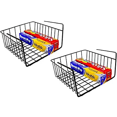 DecoBros 2PK Under Shelf Basket Wrap Rack, Bronze