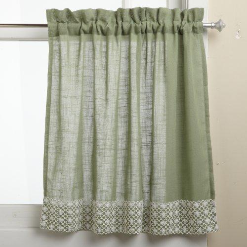 Good Lorraine Home Fashions Salem 60 Inch X 24 Inch Tier Curtain Pair, Sage