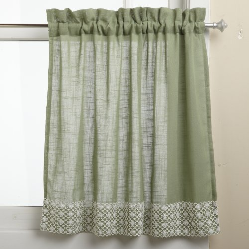 lorraine home fashions salem 60 inch x 24 inch tier curtain pair sage - Basement Window Curtains