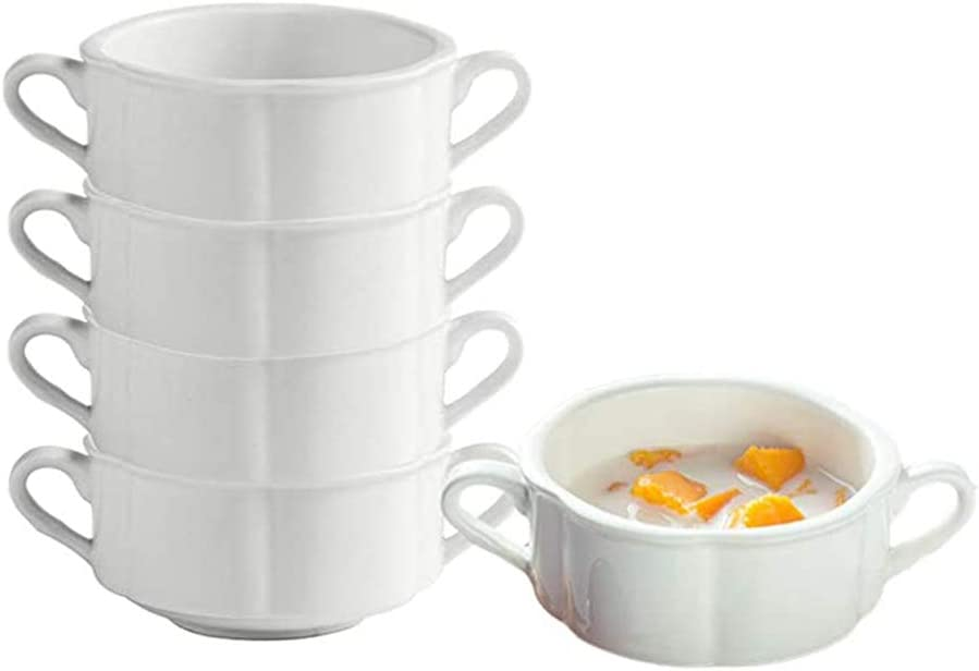 AWYGHJ 5 Pack Porcelain Soup Bowls, 8oz White Ceramic Flower Style French Onion Soup Bowl, Stacked Bowl with Double Handles, for Cereal, Chill, Pasta