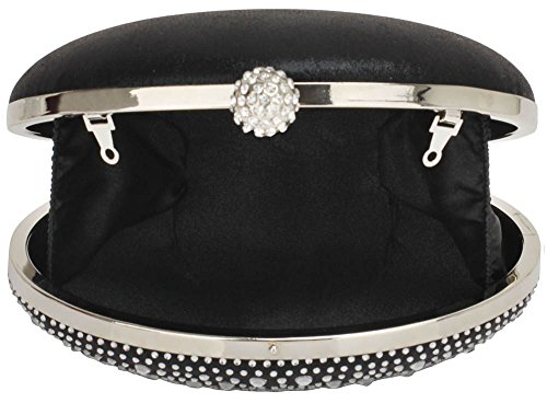 UK Bag Gorgeous Black Clutch DELIVERY Evening Diamante Design FREE Cvx0qwR