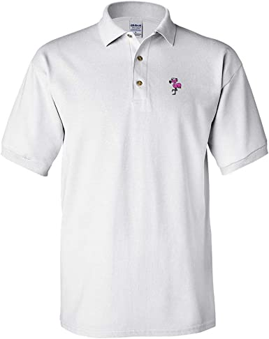 Amazon.com: Custom Polo Shirts for Men Cartoon Pink Flamingo ...