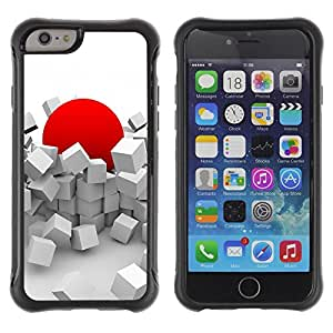 All-Round Hybrid Rubber Case Hard Cover Protective Accessory Compatible with Apple IPhone 6 (4.7'') - red japan sun abstract deep