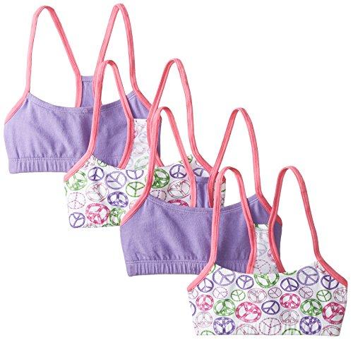 - Jockey Big Girls' Peace 4 Pack Cotton Racer Back Crop Top, Peace/Purple, X-Large