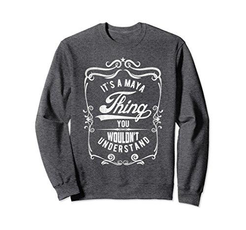 Unisex Vintage Style Funny Saying Custom Maya Name Sweatshirt Small Dark - Maya Cotton Sweater