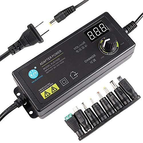 3V - 24V 2.5A 60W Adjustable DC Power Supply Kit Adapter Speed Control Volt Display with Variable 8 Plugs