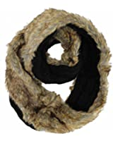 Luxury Brown Plush Fur Lined Cable Knit Infinity Scarf