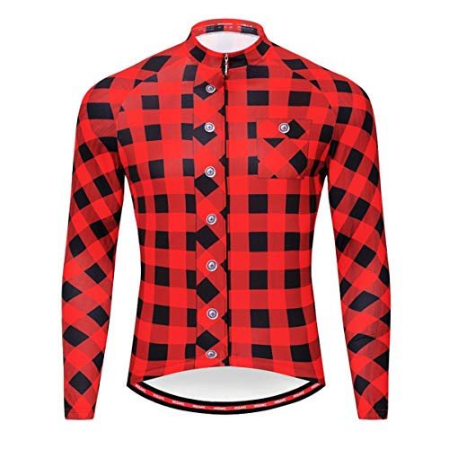 WOSAWE Men's Plaid Cycling Jersey Long Sleeves Printed Bike Shirts, Red L ()