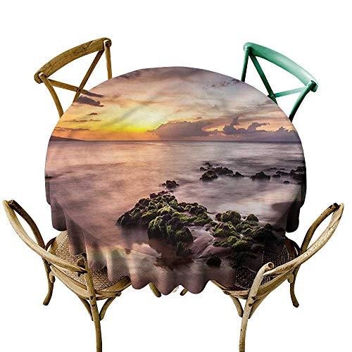 Luunins Round Tablecloth Beach,Wailea Maui Warm Sunset D54,for Bistro Table (Bistro Maui)