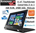 "Lenovo Premium 2-in-1 Convertible 11.6"" HD Touchscreen Laptop, Intel Dual-Core Processor, 2GB RAM, 64GB SSD, Intel HD Graphics 400, WIFI-AC, Webcam, HDMI, Bluetooth, Windows 10, Black"
