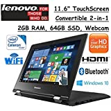 2017 Lenovo 2-in-1 Convertible 11.6 HD Touchscreen Laptop Intel Dual-Core Processor 2GB RAM 64GB SSD Intel HD Graphics 400 802.11ac WIFI Webcam HDMI Bluetooth Windows 10- Black