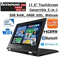 Lenovo Premium 2-in-1 Convertible 11.6 HD Touchscreen Laptop, Intel Dual-Core Processor, 2GB RAM, 64GB SSD, Intel HD Graphics 400, WIFI-AC, Webcam, HDMI, Bluetooth, Windows 10, Black