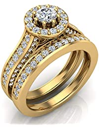 dad86b0a5 1.15 ct tw Exquisite 8 prong setting Round Cut Halo Wedding Ring Set 14K  Gold (