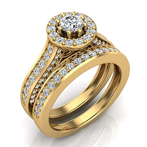 1.15 ct tw Halo with Accent Diamonds Wedding Ring Set 14K Yellow Gold (Ring Size ()