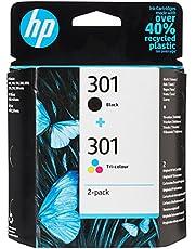 HP 301 Inktcartridge Zwart, Cyaan, Geel, Magenta, 3 kleuren en zwart 2-Pack (Standaard Capaciteit) (N9J72AE) origineel van HP