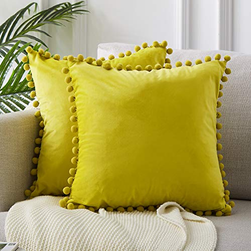 Top Finel Decorative Euro Throw Pillow Covers for Couch Bed Soft Particles Velvet Solid Cushion Covers with Pom-poms 26 x 26 Inch 65 x 65 cm, Pack of 2, Lemon Yellow