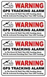 4 Pcs Garnished Unique Warning GPS Tracking Alarm Technology In The Event of Theft This Will be Activated Providing Real Time Back Adhesive Stickers Sign Security Cameras Signs Doors Size 4.5''x1.5''