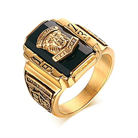 Stainless Steel Black Rhinestone 1973 Walton Tigers Signet Ring for Men,18K Gold Plated Size 11
