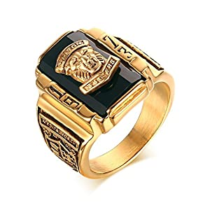 stainless steel black rhinestone 1973 walton tigers signet ring for men 18k gold plated size 7. Black Bedroom Furniture Sets. Home Design Ideas