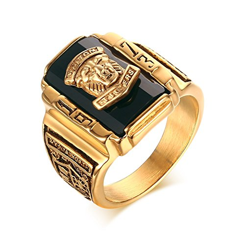 Stainless Steel Black Rhinestone 1973 Walton Tigers Signet Ring for Men,18K Gold Plated Size 8