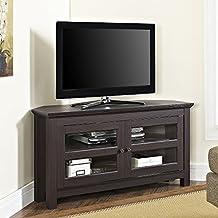 "WE Furniture 44"" Cordoba Corner TV Stand Console, Espresso"