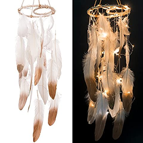 Ling's moment Feather Dream Catcher Mobile LED Fairy Lights Battery Powered Hanging Ornaments with Gold Dipped Glitter Feathers Bohemian Wedding Decorations, Boho Chic, Nursery (Indian Gold Ornaments)