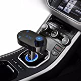 FlatFin Wireless Bluetooth in Car FM Transmitter MP3 Player with USB Charger Adapter & Hands Free Calls for iPhone, iPad, Samsung Galaxy Note Edge, LG, Google Nexus, Motorola, Sony, Android