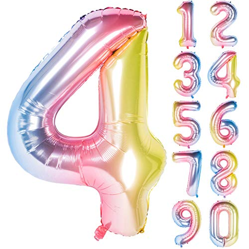 New 40 Inch Number Rainbow Gradient Digit Helium Foil Birthday Party Balloons Number -