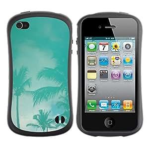 Suave TPU Caso Carcasa de Caucho Funda para Apple Iphone 4 / 4S / Palms Teal Storm Miami California Sky / STRONG