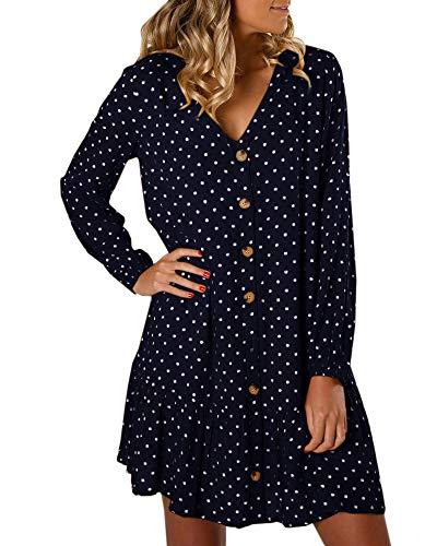 (Saikesigirl Womens Polka Dot Button Down Dress Boho Short Sleeve Ruffle Mini Dresses with Belt (XX-Large,)