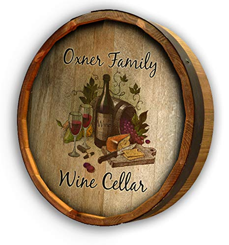 (Personalized Wine Cellar Quarter Barrel Sign)