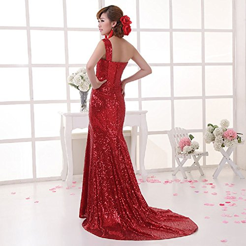 Shoulder Zug Schleifen Pailletten Kleid Emily Beauty lang One Party Rot wqXPtER