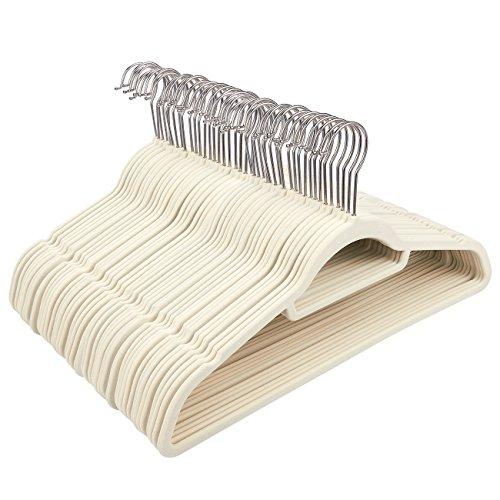 Juvale Ivory Velvet Hangers - Ultra-Thin, Velvet, No Slip, Clothes Hangers for Pants, Blouses, Dresses - 50 Count by Juvale