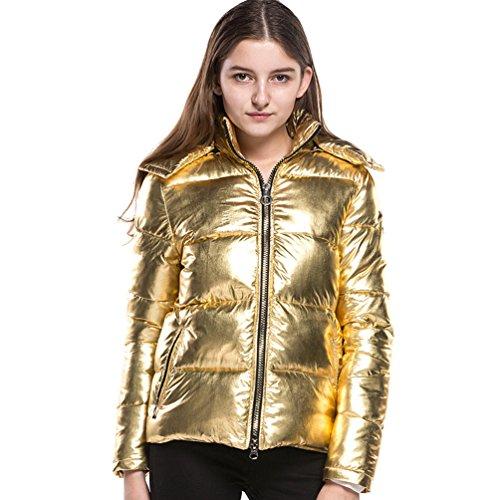 Lunga Dooxi Cappotti Solido Colore Oro E Cappuccio Caldo Di Lucente Inverno Manica Con Giacche Autunno Donna wTqpTSxtYr
