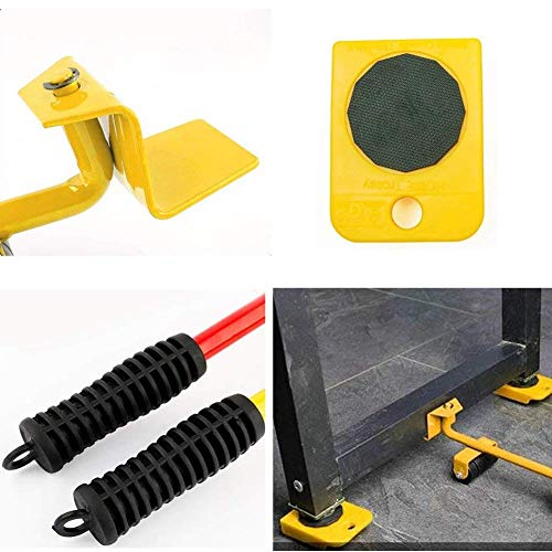 Wefond 1 Set Furniture Lifter Durable Heavy Appliance Furniture Lifting and Moving Tool Set for Heavy Furniture & Appliance Lifting, 1 Lifting Rod and 4 Furniture Moving Rollers (Yellow) by Wefond (Image #6)
