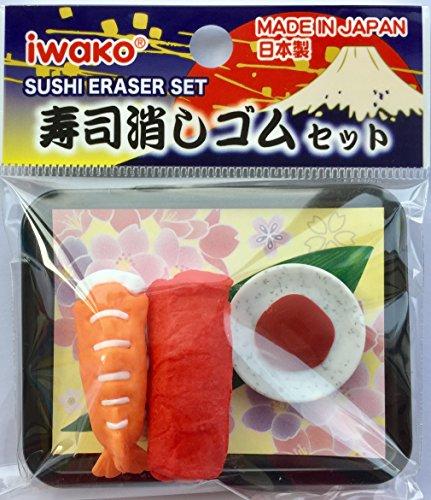 Iwako 2 pieces on Sushi with wasabi sauce on Tray Eraser Set from Japan (Random Sushi Design!)