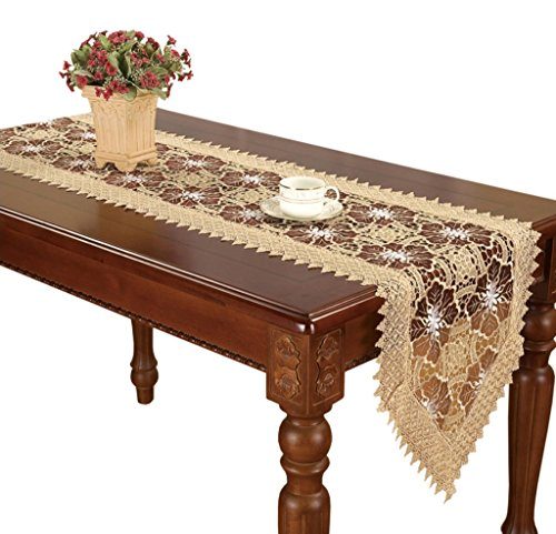 Lilian Burgundy Embroidered Floral Lace Table Runners And Dresser Scarves 16 By 72 Inch