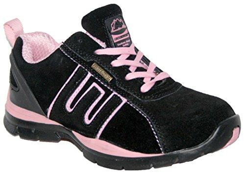 Zapatillas de seguridad para mujer, acero en la punta de los dedos, con cordones, ligeras Blk/Pink