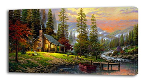 Cabin In The Woods CANVAS PRINT Wall Decor Art Giclee Nature Scenery P111, Huge