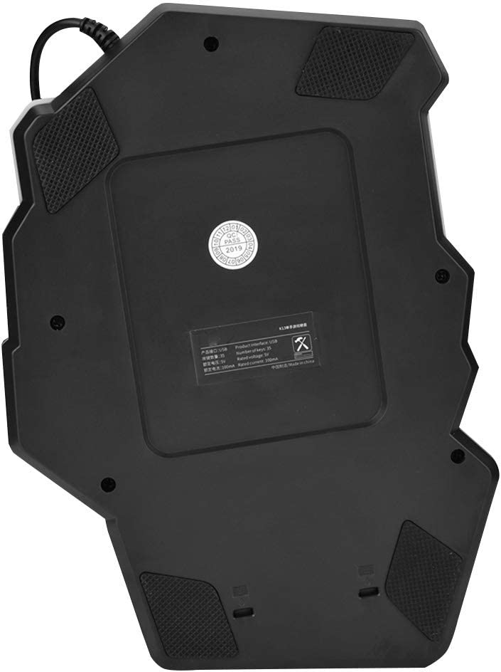 Ergonomic Single Hand Keypad,35Keys with 5 Multi-Media Keys,Breathing Lights,USB Wired Keyborad for IBM PC WIN98SE//ME//2000//XP//VISTA//WIN7//WIN10 Tangxi Single Hand Gaming Keyboard
