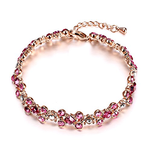 EL8TION Jewelry for Women | Costume Jewelry Bracelets for Women | Made with Genuine Swarovski Crystals | Rhinestone Cluster Ladder Fashion Bracelet | Pink