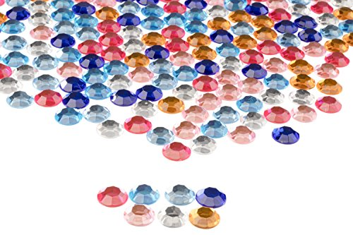 Circular Gemstone - Flatback Rhinestones - 210-Piece Round Loose Gemstones Embellishment, Acrylic Crystal Beads for DIY Craft, Clothing, Bag Decoration, Assorted Colors, 0.5 x 0.125 inches