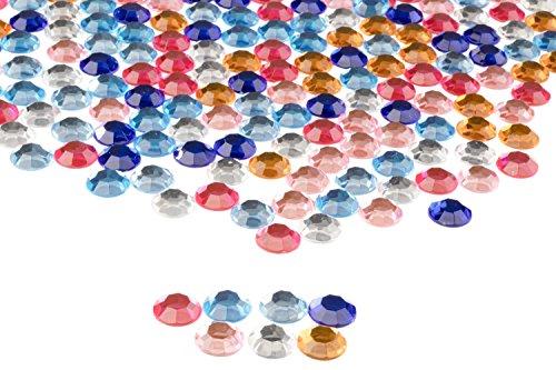 Flatback Rhinestones - 210-Piece Round Loose Gemstones Embellishment, Acrylic Crystal Beads for DIY Craft, Clothing, Bag Decoration, Assorted Colors, 0.5 x 0.125 inches