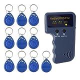 M-Egal Handheld 125KHz RFID Copier/Writer/Readers/Duplicator with 10pcs Key Fobs Card blue 115*70*30mm