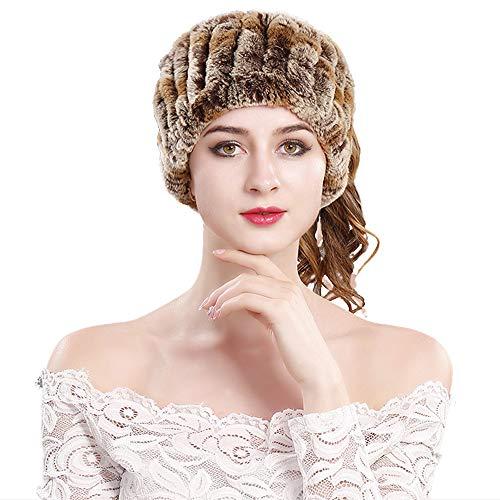 Yu He Rabbit Fur Headband - Winter Knit Neck Warmer Real Fur Headbands Women Scarf Muffler Colorful 4