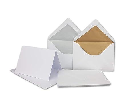 Faltkartenset mit Gold und Silber gefütterten Umschlägen | Matt | 50er-Set | DIN 6 | Blanko Einladungskarten in Hochweiß | Um