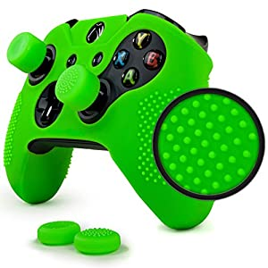 ParticleGrip Studded Skin Set for Xbox One (& One S) by Foamy Lizard – Patent Pending Silicone Skin Cover Antislip Studs Plus Matching Set of 4 AceShot Analog Thumbgrips (Green)